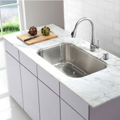 Kraus Kitchen Sinks Black Chairs Cheap 31 1 2 Undermount Single Bowl Stainless Steel Sink Set