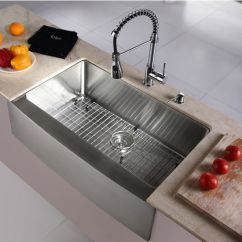 Kraus Kitchen Sinks Remodel Orlando Krs Khf200 33 Kpf1612 Ksd30ch Stainless Steel Farmhouse Sink With Chrome Or Faucet Dispenser Kitchensource Com