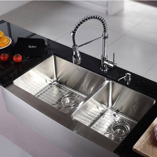 kraus kitchen sinks best design software farmhouse 60 40 double bowl sink and chrome or stainless steel dual pull out spray head faucet dispenser kitchensource com