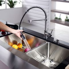 Pull Out Spray Kitchen Faucet Renew Cabinets Refacing Refinishing Kraus Farmhouse 60/40 Double Bowl Sink And Chrome ...