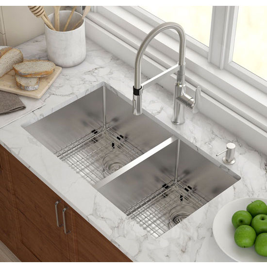 60 40 kitchen sink blanco faucet kraus undermount double bowl 16 gauge stainless steel 32 3 4 w x 19 d 10 h kitchensource com