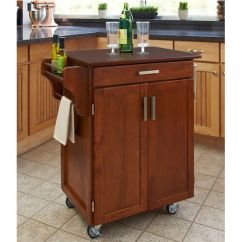 Cherry Kitchen Cart Cabinets Lowes Carts Mix Match 2 Door W Drawer Cuisine Cabinet Warm Oak Finish With Top By Home Styles