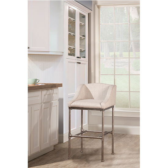 dillon chair 1 2 how to make a cardboard with only hillsdale furniture counter or bar stool w winged gray woven fabric seat textured silver finish kitchensource com