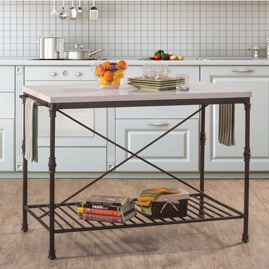 metal kitchen island ikea shaker cabinets castille textured black with white marble top hillsdale furniture