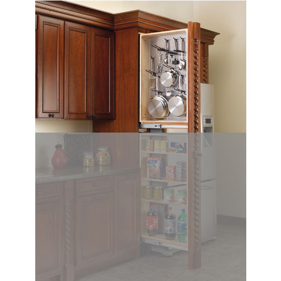Tall Kitchen Cabinet Filler Organizer With Perforated Accessory Hanging Panel By Rev A Shelf