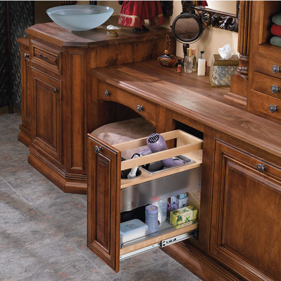CabinetOrganizers  Vanity and Base Cabinet PullOut Grooming Organizer  Bottom Mount Design