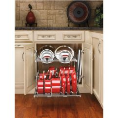Unfinished Kitchen Base Cabinets Spice Rack Two-tier Pots, Pans And Lids Organizer For Cabinet ...