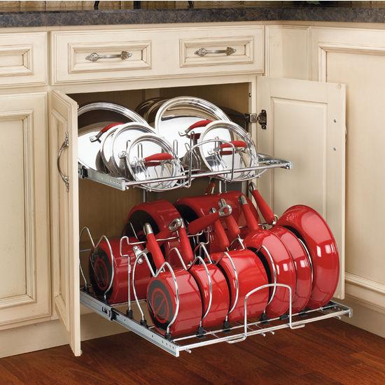 Twotier Pots, Pans And Lids Organizer For Kitchen Cabinet