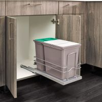 Bottom Mount Under Sink Double Trash Bin Pull-Out, with 15 ...