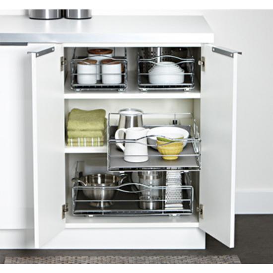 Steel Grey Wide Kitchen Cabinet Organizer Kitchensource