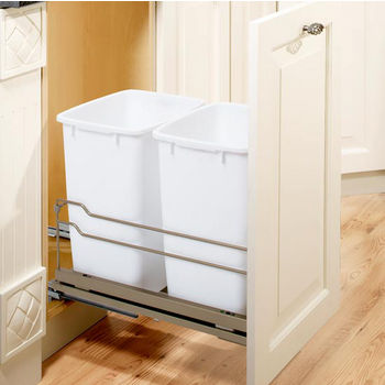 kitchen trash can pull out designers cans free standing built in under cabinet freestanding