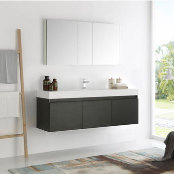Mezzo 60 Wall Hung Single Sink Modern Bathroom Vanity W Medicine Cabinet Set By Fresca Kitchensource Com