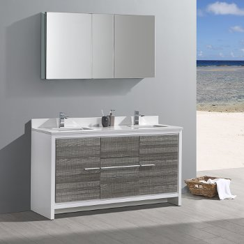 Allier 60 Modern Double Sink Bathroom Vanity W Mirror Set By Fresca Kitchensource Com