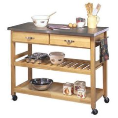 Home Styles Kitchen Cart Waste Baskets Carts And Islands By Kitchensource Com Stainless Steel Top 44 W X 20 1 2 D 36 H