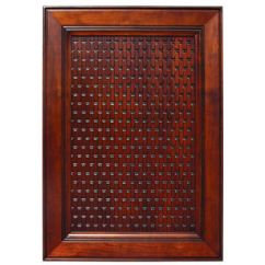 Red Cherry Cabinets Kitchen Aid Mixer Bowls Door Inserts - Solid Wood Basketweave Embossed Panel In ...