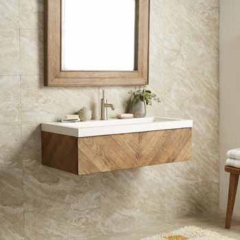 vanity and nativestone trough sink