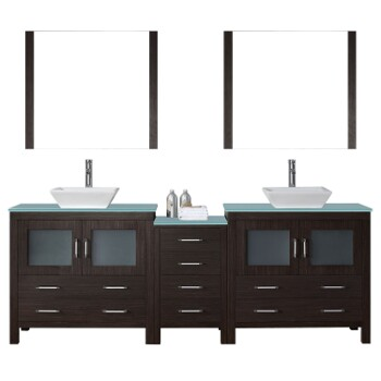Bathroom Vanities 90 Dior Double Sinks Bathroom Vanity Set In Multiple Finishes With Countertop By Virtu Usa Kitchensource Com