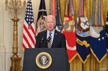 President Joe Biden speaks about the American troop withdrawal from Afghanistan, in the East Room of the White House, in Washington, July 8, 2021.