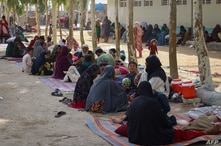 Afghan internally displaced families are pictured upon their arrival from the outskirts Kandahar, who fled due to the ongoing…