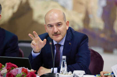 FILE - Turkish Interior Minister Suleyman Soylu speaks during a news conference in Istanbul, Turkey, Aug. 21, 2019.