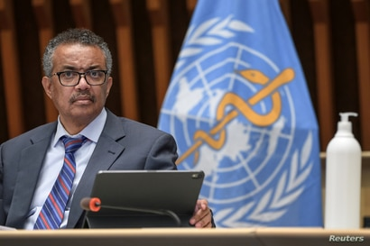 The Director-General of the World Health Organization (WHO), Tedros Adhanom Ghebreyesus, attends a press conference in Geneva.