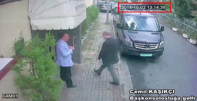This image taken from CCTV video obtained by the Turkish newspaper Hurriyet and made available on Oct. 9, 2018 claims to show Saudi journalist Jamal Khashoggi entering the Saudi consulate in Istanbul, Oct. 2, 2018.