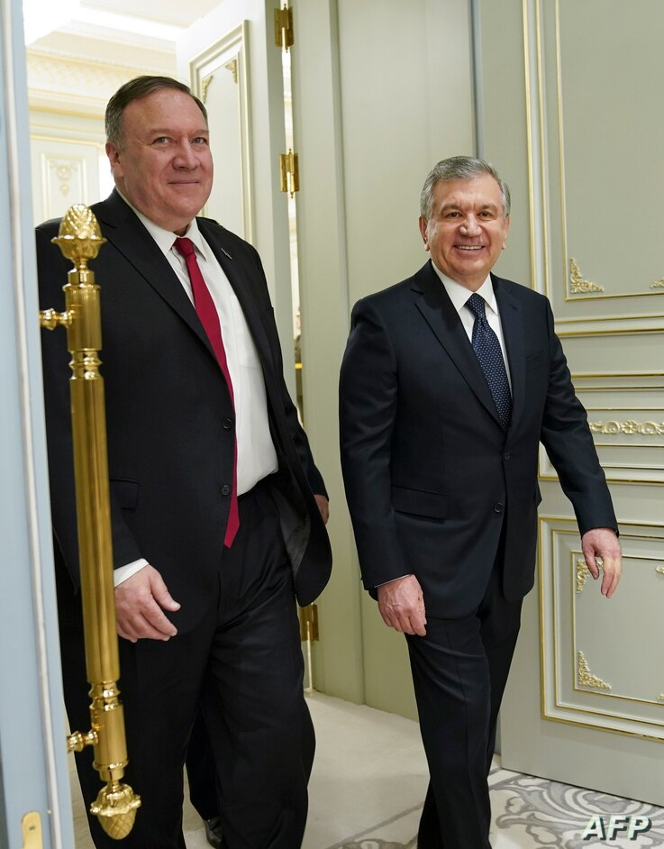US Secretary of State Mike Pompeo meets with Uzbek President Shavkat Mirziyoyev in Tashkent on February 3, 2020. (Photo by…