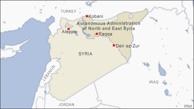Map of Autonomous Administration of North and East Syria
