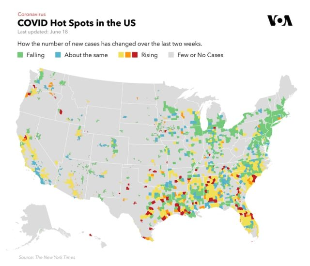 Map of Coronavirus Hotspots in the US