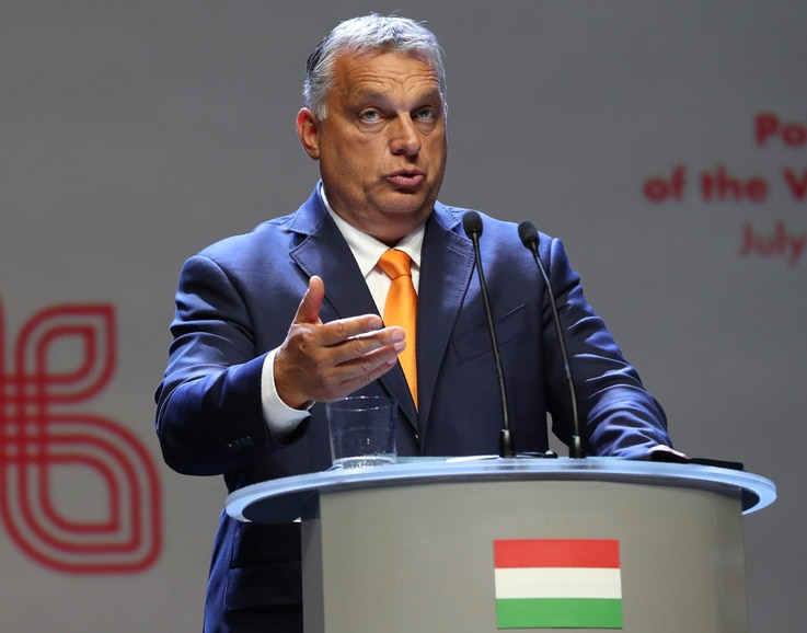 Viktor Orban Prime Minister of Hungary attends a news conference following talks with his counterparts from central Europe's…