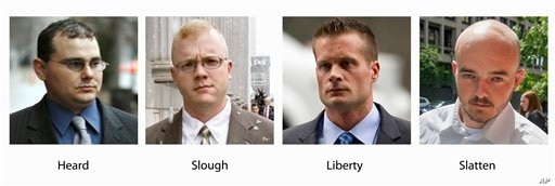 FILE - In these various file photos, Blackwater guards, from left, Dustin Heard, Paul Slough, Evan Liberty and Nicholas. A…
