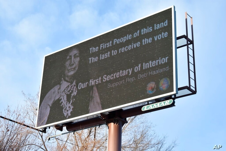 This Feb. 21, 2021, photo shows a billboard in Billings, Montana, displays support for New Mexico U.S. Rep. Deb Haaland, who…
