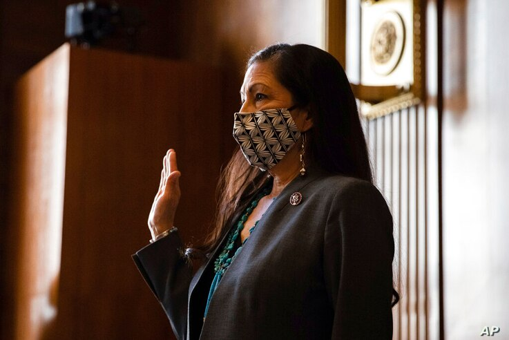 Rep. Deb Haaland, D-N.M., is sworn in during a Senate Committee on Energy and Natural Resources hearing on her nomination to be…