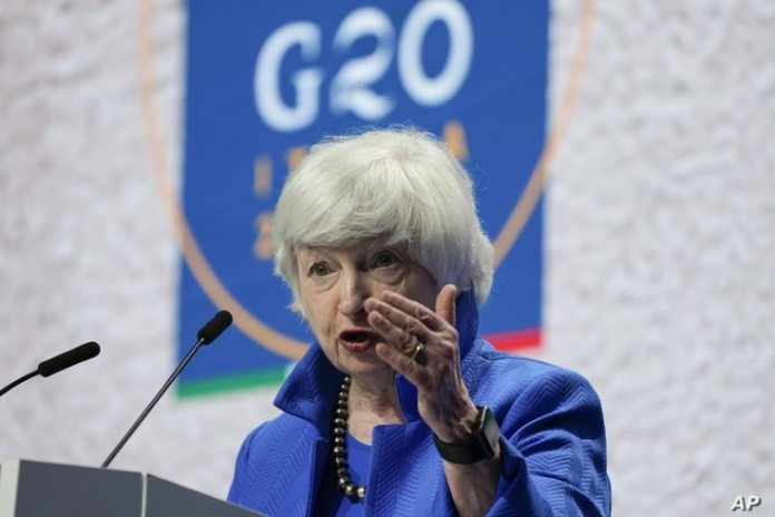 US Treasury Secretary Janet Yellen speaks during a press conference at the G20 economy, finance ministers and central bank governors meeting on July 11, 2021 in Venice, Italy.