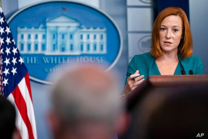 White House Press Secretary Jen Psaki speaks at a press conference to be held at the White House on Wednesday, September 1, 2021...