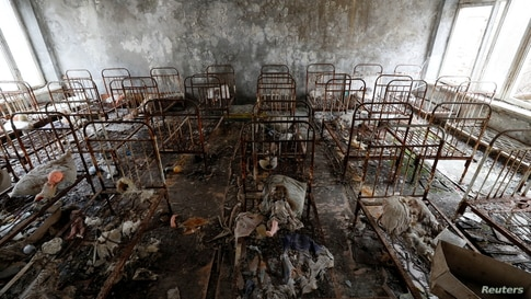 Children's beds are seen in a kindergarten near the Chernobyl Nuclear Power Plant in the abandoned city of Pripyat