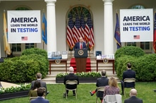 FILE PHOTO: U.S. President Donald Trump addresses a coronavirus disease (COVID-19) outbreak press briefing in the Rose Garden…