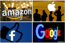 FILE PHOTO: FILE PHOTO: The logos of Amazon, Apple, Facebook and Google in a combination photo./File Photo