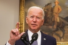 U.S. President Joe Biden delivers remarks on the situation in Afghanistan, in the Roosevelt Room at the White House in…