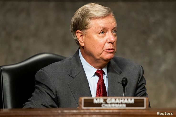 Republican Senator from South Carolina and chair of the Republican-led Senate Judiciary Committee Lindsey Graham prepares to…