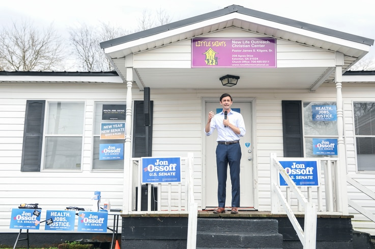 Democratic candidate for Senate Jon Ossoff (D-GA) speaks to supporters during a rally in Eatonton, Georgia on January 2, 2021. …