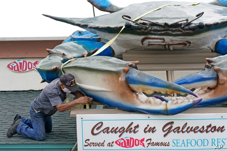 Miguel Andrade secures a strap over a giant crab atop Gaido's Seafood Restaurant, Tuesday, Aug. 25, 2020, in Galveston, Texas,…