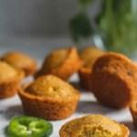 vegan jalapeno cheddar cheese cornbread muffins with green plant, vegan cornbread recipe