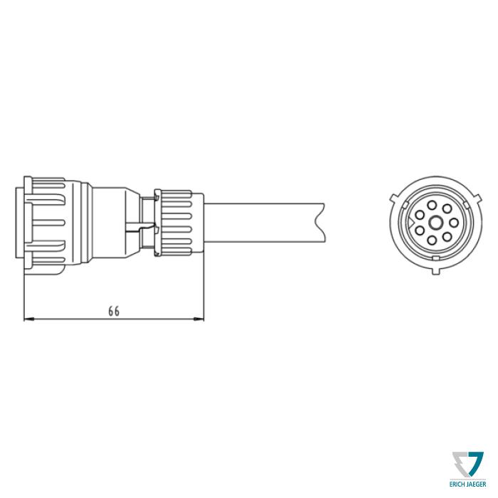 8P contact socket coupler (DIN 72580) 8P contact socket