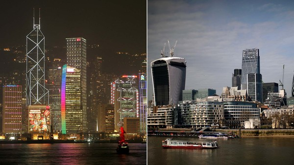 Collage of Hong Kong and London skylines