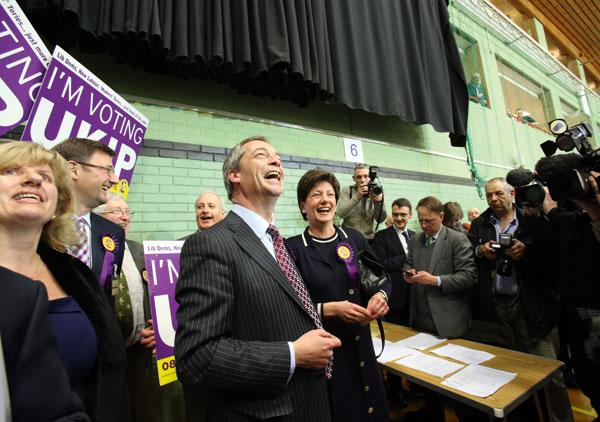 Nigel Farage celebrates with Ukip candidate Diane James at the Eastleigh by-election, February 28; James beat the Tories to take second place