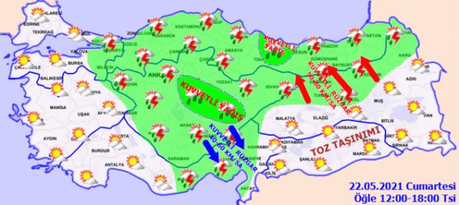 SAĞANAK! Son dakika Meteoroloji uyardı: Şiddetli sağanak geliyor - 22 Mayıs Hava Durumu Haberleri 16