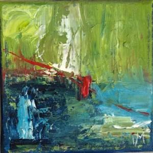Livets röda tråd 1, 14 x 14, akryl