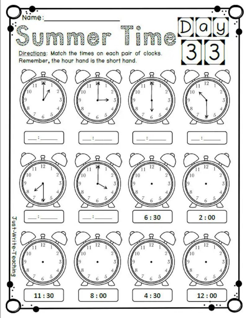 Summer Math Packet Rising Second Grade First Grade Review