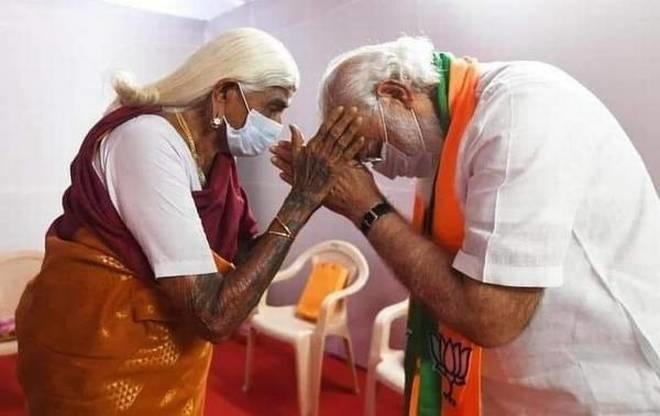 PM Modi With Padmshree PappaMal Amma